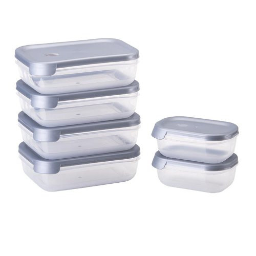 Juypal 912 - Set de 6 tapers rectangulares, Sistema abrefácil, 5.80 l en Total, Color Plateado