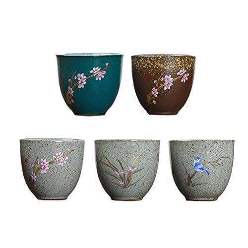 KCHAIN Pack of 5 Pottery Handmade Mugs set Original Sake Cup Teacup in Ceramic Sake Japanese Tea Mug and Fresh ()