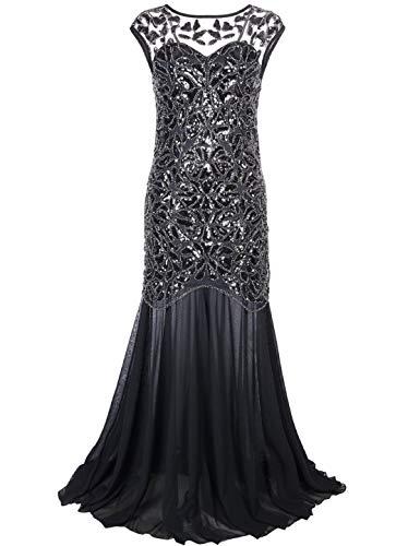 PrettyGuide Women 's 1920s Black Sequin Gatsby Maxi Long Evening Prom Dress, Black - 10/12