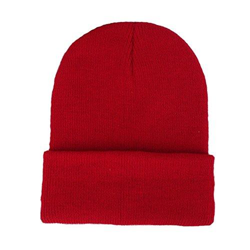 CANCA Unisex Cuff Warm Winter Hat Knit Plain Skull Beanie Toboggan Knit Hat/Cap (Red)