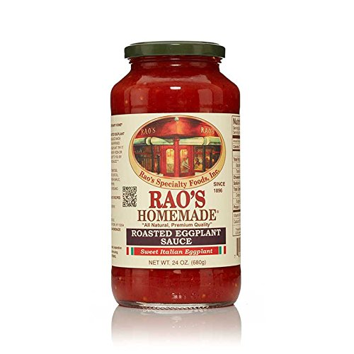 - Rao's Specialty Foods, Roasted Eggplant Sauce, Pack of 1, Classic Italian Tomato Sauce with Slow Roasted Eggplant, Great on Pasta, Made With Fresh Italian Tomatoes and Basil, No Sugar Added