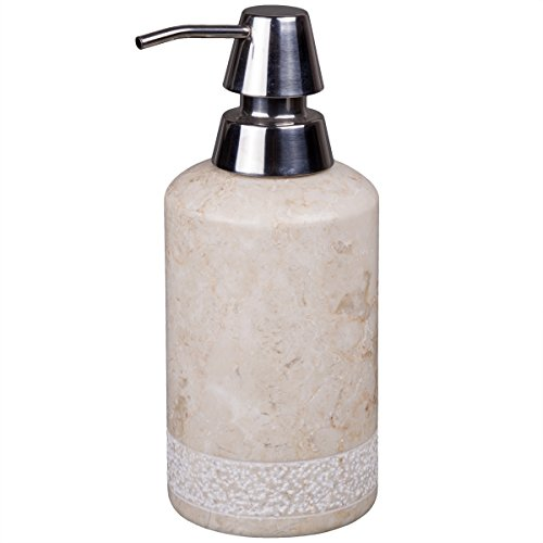 Creative Home Natural Champagne Marble Stone Liquid Soap Dispenser with Deluxe Pump, Spa Hand Carved Bath (Deluxe Liquid Soap)