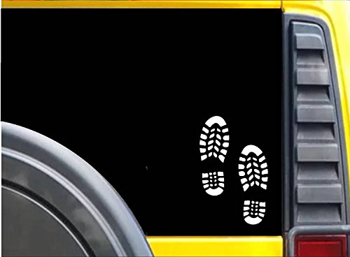 Two Bootprints K618 6 inch Sticker hiking trail decal