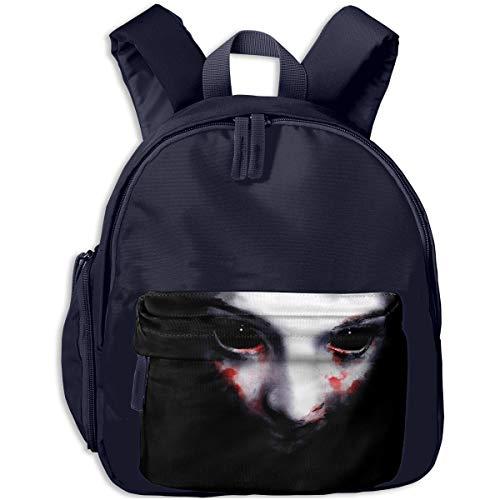 Halloween Scary Face Girl Bloody Children Backpack Pocket Zipper Outdoor Travel School Book Bag ()