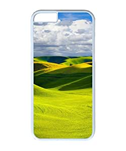VUTTOO Iphone 6 Plus Case, Yellow Hills Clouds PC Case Cover for Apple Iphone 6 Plus 5.5 Inch White