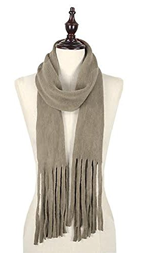 StylesILove Trendy Knit Womens Skinny Scarf with Chunky Tassels (One Size Fits All, Taupe) by stylesilove