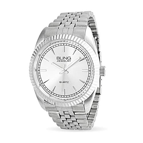 Fashion Mens Executive Wrist Bracelet Watch for Men White Round Dial Silver Tone Metal Link Band Stainless Steel