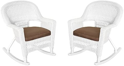 Jeco Rocker Wicker Chair with Brown Cushion, Set of 2, White