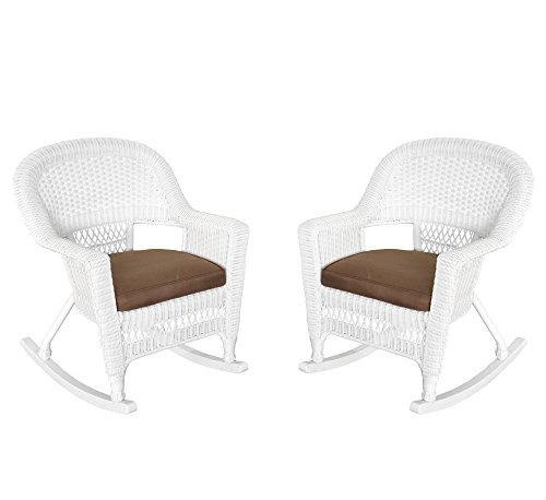 Jeco W00206R-B_2-FS007 Rocker Wicker Chair with Brown Cushion, Set of 2, White