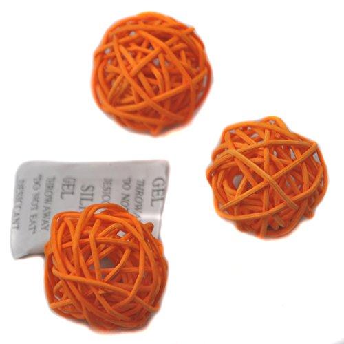 Ougual Set of 6 Wicker Rattan Balls Table Wedding Party Christmas Decoration (Diameter 8cm, Orange)