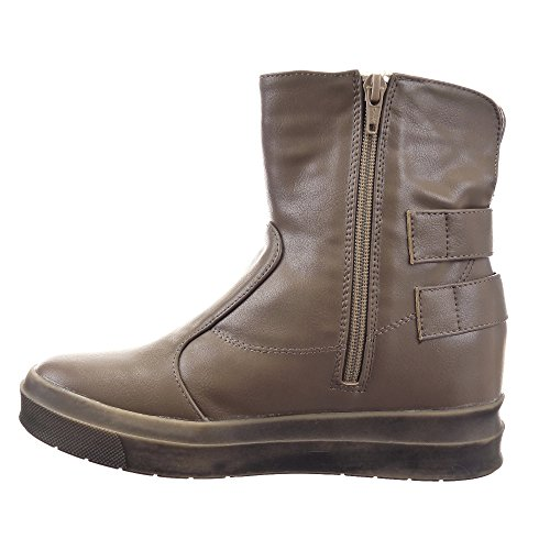 Sopily - Scarpe da Moda Stivaletti - Scarponcini Low boots Zeppe alla caviglia donna fibbia Zip Tacco zeppa piattaforma 3.5 CM - soletta tessuto - Taupe