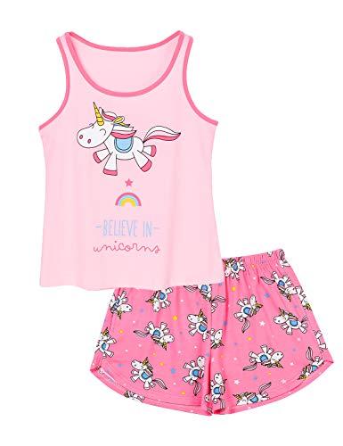 Big Girls Unicorn Pajama - Size 16 Tank Top & Shorts Set Cotton Kids Clothes for Tween Fuchsia
