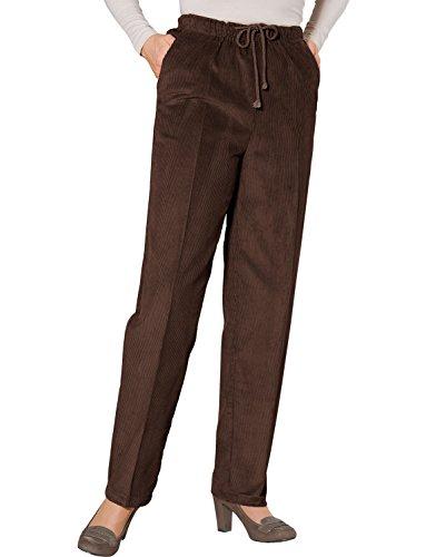 Mesdames Cravate Taille Pantalon Velours Côtelé Marron 66cm x 64cm