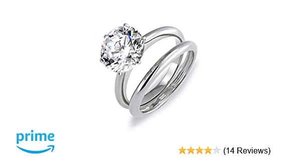 ce035ee2438 Amazon.com  3.5CT Solitaire CZ Engagement Wedding Ring Set Thin Traditional  Band Cubic Zirconia Rhodium Plated 925 Sterling Silver  Jewelry