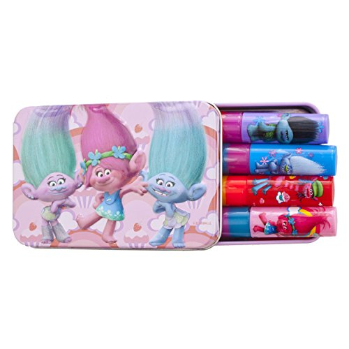 Townley Girl Dreamworks Trolls Sparkly Lipgloss For Girls, 4 pack with Decorative (Guy Makeup)