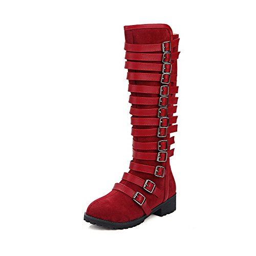 Allhqfashion Women's Blend Materials High-top Solid Zipper Low-Heels Boots Claret WZgteNa