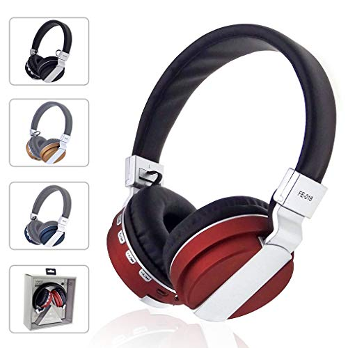 LiboboKubite Collapsible with MIC Foldable DJ Headphones 3.5mm Wired Game Earphones (Red)