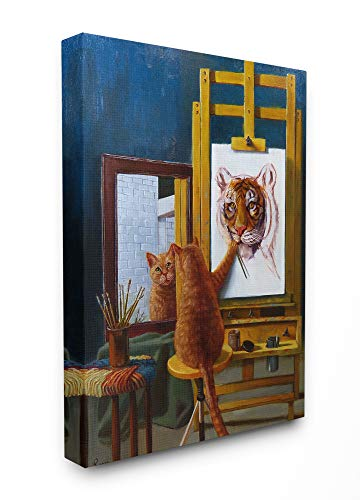 The Stupell Home Décor Collection Cat Confidence Self Portrait as a Tiger Funny Painting Stretched Canvas Wall Art, 16 x 20, Multi-Color ()