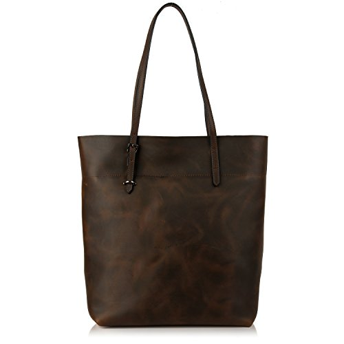 YALUXE Women's Vintage Style Leather Work Tote Shoulder Bag (UPGRADED 2.0) Coffee