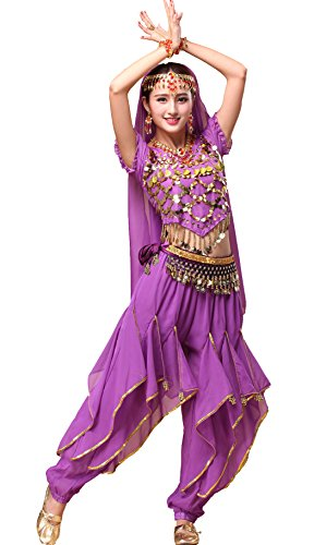 Astage Women`s Belly Dance Costume Set All Accessories Short Sleeve Top with Shells Purple -
