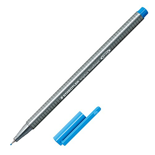 Staedtler Triplus Fineliner Marker Pen - 0.3 mm - Light Blue (Metal Triangular Shaped Pen)