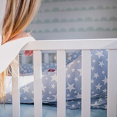 Mimuselina Cuco Nest Reductor   Cama Nido Desenfundable, Minicuna Portátil Colcheo, Reductor de Cuna, Chichonera, Cojín de Lactancia, Impermeable, Estampado Estrellas Azul Blue Petrol, 85x52 cm