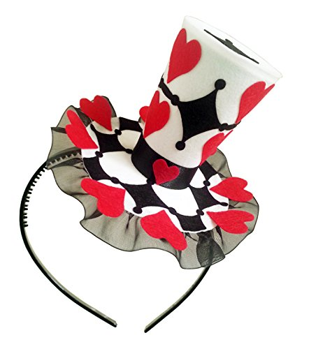 [Queen of Heart Mini Top Hat Headband Mad Hatter Tea Party Alice in Wonderland Decoration] (Mad Hatter Alice Costumes)