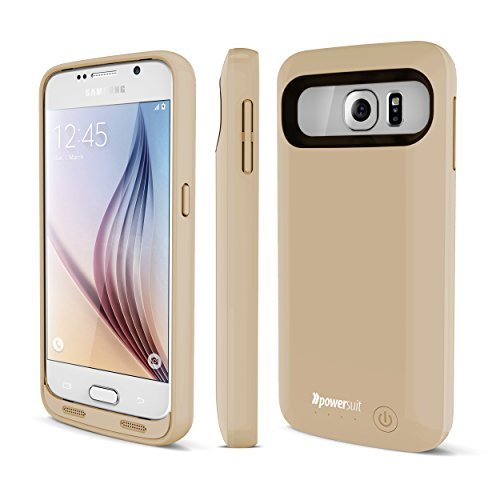 Galaxy S6 Battery Case, New PowerSuit® Extended capability case for Samsung Galaxy S6 [Ultra slender capability & Protection] SmartIQ Safe-Charge concept (Champagne Gold)