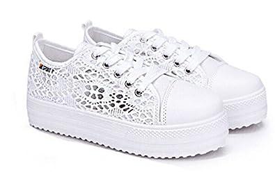 b926435e97 Summer Women Shoes Casual Cutouts Lace Canvas Shoes Hollow Floral Breathable  Platform Flat Shoe Sapato Feminino