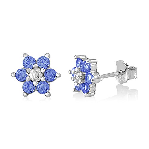 (UNICORNJ Childrens Sterling Silver 925 Dark Blue CZ 6 Petal Flower September Birth Month Stud Post Earrings)