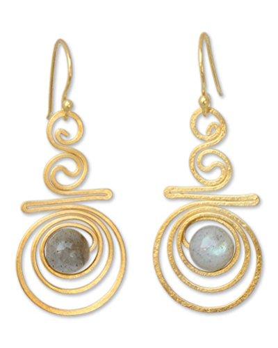 NOVICA Labradorite 24k Gold Plated Sterling Silver Dangle Earrings