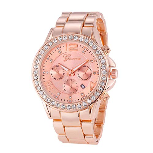 WoCoo Womens Wrist Watches,Fashion Diamond-set Crystal 3 Eyes Quartz Dial Watch with Stainless Steel Strap Wristwatch(Rose Gold,Great Choice for Girls)