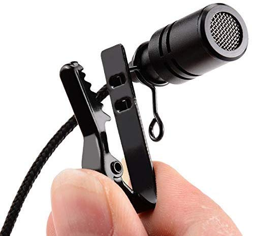 LXCN® Pro Lavalier Lapel Coller Microphone Kit with Voice Recording Filter Mic for Recording Singing Youtube on Smartphones (Black)
