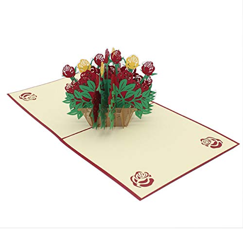 3D Flower Pop Up Cards Elegant Rose Bouquets Cards Mothers Day Wedding Anniversary Greeting Cards 7.09x 7.09 inches (Flower Congratulations Basket)