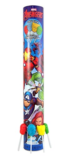 Marvel Avengers Candy Bank with Super Hero Shaped Lollipops, 17 3/4 Inch
