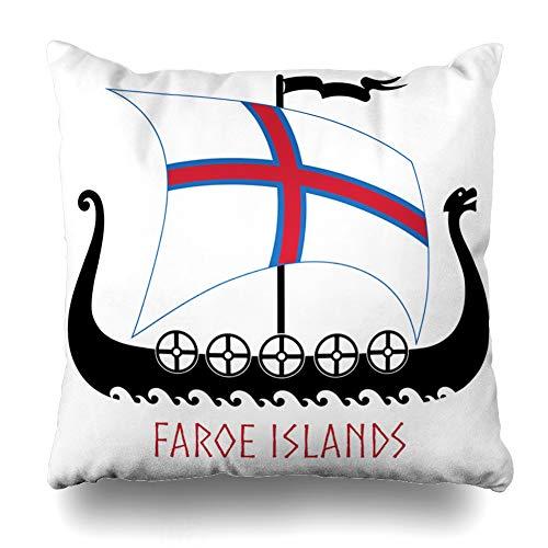 Ahawoso Throw Pillow Covers Legend Blue Asgard Warship Vikings Drakkar Faroe Islands Colored Ancient Vintage Red Barbarian Boat Zippered Pillowcase Square Size 16 x 16 Inches Home Decor Cushion ()