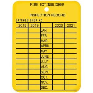 Fire Extinguisher Tags - Plastic 4-Year Inspection Tag, 2018-2021 (20 Pack)