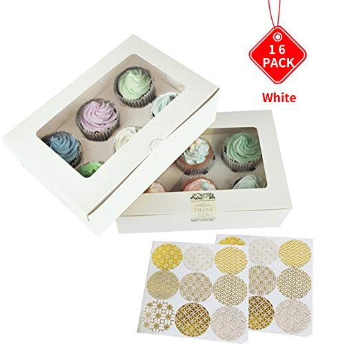 Bakery Cupcake Boxes and Cake Carrier - Pastry and White Cookie Box,6 Treat Holder Storage Boxes,Kraft Cake Box with Stickers and Window,Cup Cake Baking Cups,HUATK (16 white)