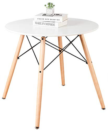 Living Room ELANGST Round Dining Table, Modern Kitchen Table Wood Leisure Coffee Table Mid-Century Pedestal Table with MDF Top and… modern coffee tables