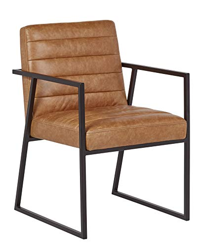 Rivet Allie Industrial Mid-Century Modern Dining Room Kitchen Chair, 33 Inch Height, Brown Leather, Black Frame