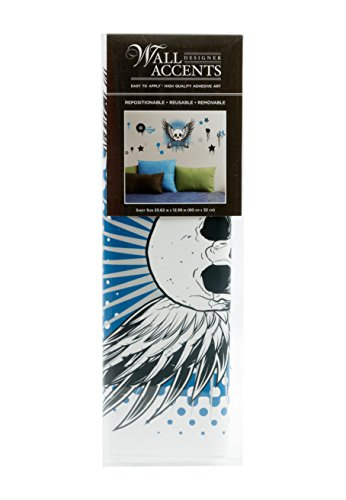 Wall Accents Peel-and-Stick Decal Set, Rock & Roll Skull with Wings and Stars, Black/Blue/Grey ()