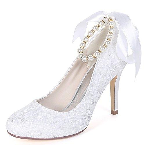 Mode Ferse Kätzchen Geschlossene Hochzeit Verband Zehe Heels Kleid 9 Schuhe Frauen Perle Abend cm High Elobaby fw4xqXZn