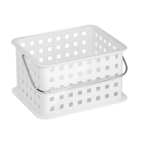InterDesign Storage Organizer Basket, for Bathroom, Health and Beauty Products - Small, White (Small White Basket With Handle compare prices)