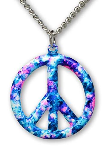 Real Metal Purple Blue Hippie Tie Dye Peace Sign Enamel on Pewter Pendant Necklace (Medium)