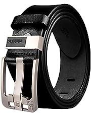 SlowTon Cinturón de Reversible Cuero para Hombre, Cinturón de 100% Cuero Cinturón Ajustable Deslizante Hebilla Fácil Usar Adecuado Cinturón Formal Informal Hebilla Clásica Hombres Pesados