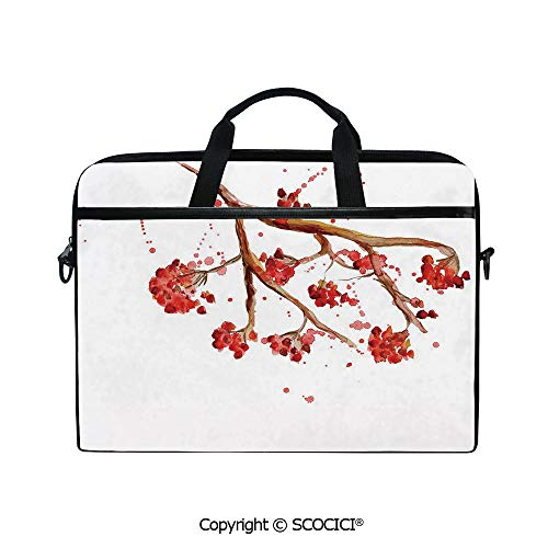 Customized Printed Laptop Bag Notebook Handbag Rowan Berry Branch with Watercolor Splashes Artistic Floral Abstract Display 15
