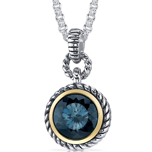- Portuguese Cut 4.50 carat London Blue Topaz Sterling Silver Rhodium Nickel Finish Twisted Cable Pendant