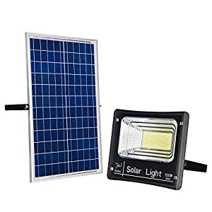 100W Solar Powered Street Flood Lights 196 Leds 5000 Lumens Outdoor Waterproof IP67 with Remote Control Security…