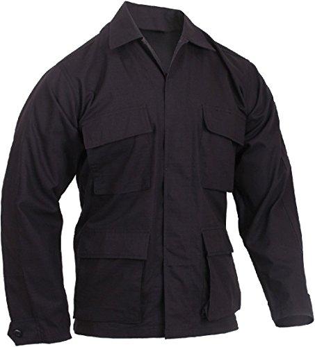 Ripstop Cap Fatigue Black - Lightweight Tactical BDU Shirt Ripstop Military Fatigue Army Coat 4-Pocket