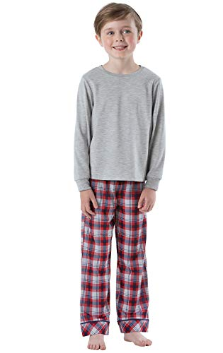 PajamaGram Big Boys' Pajamas Jersey - Long Sleeve 2 Piece Boys PJs Red